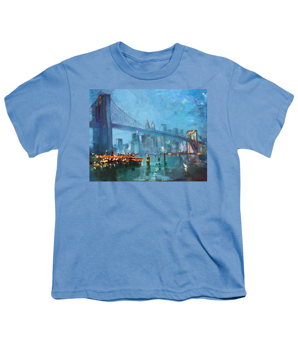 Landscape Youth T-Shirt featuring the painting Brooklyn Bridge by Ylli Haruni