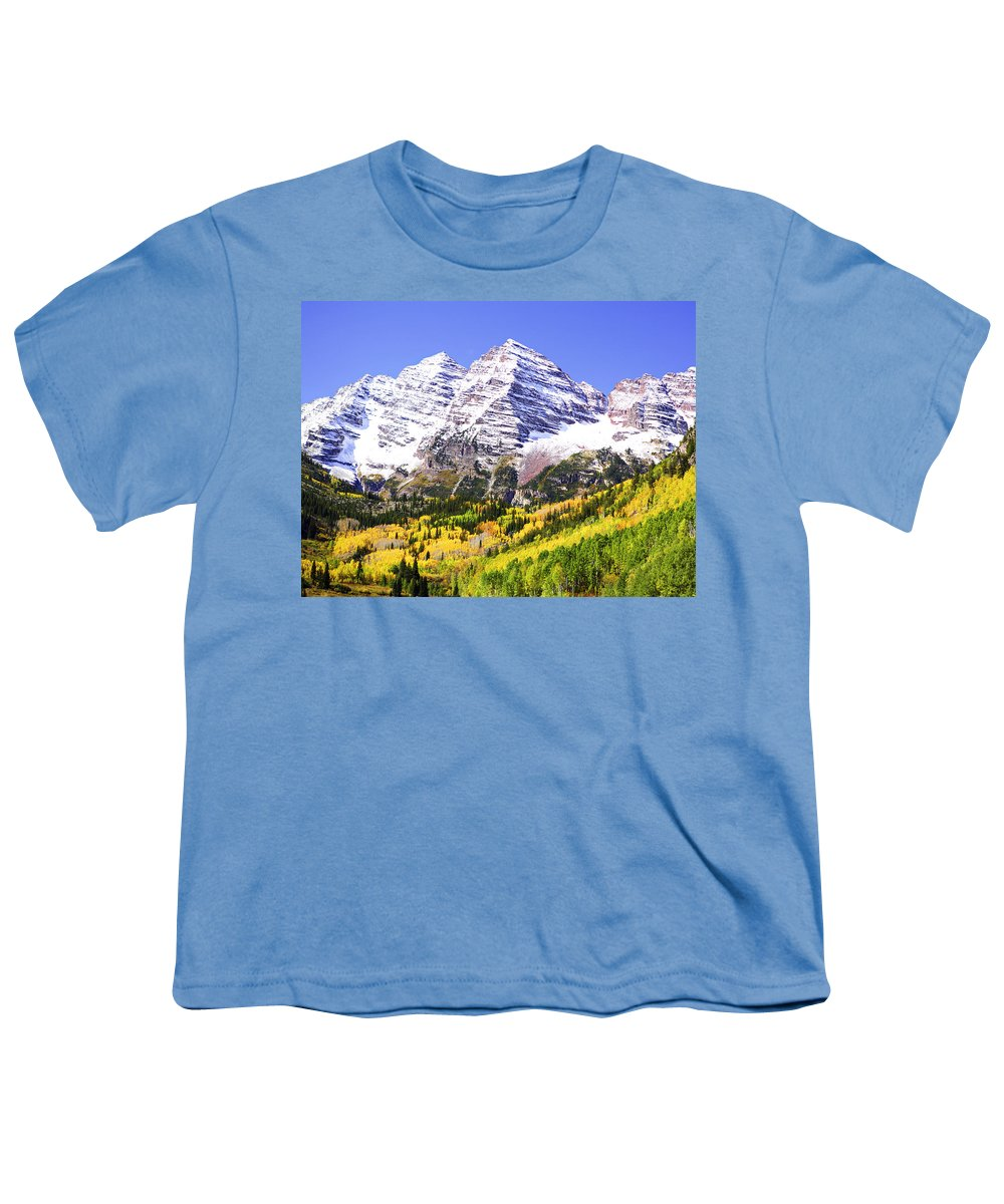 Americana Youth T-Shirt featuring the photograph Classic Maroon Bells by Marilyn Hunt