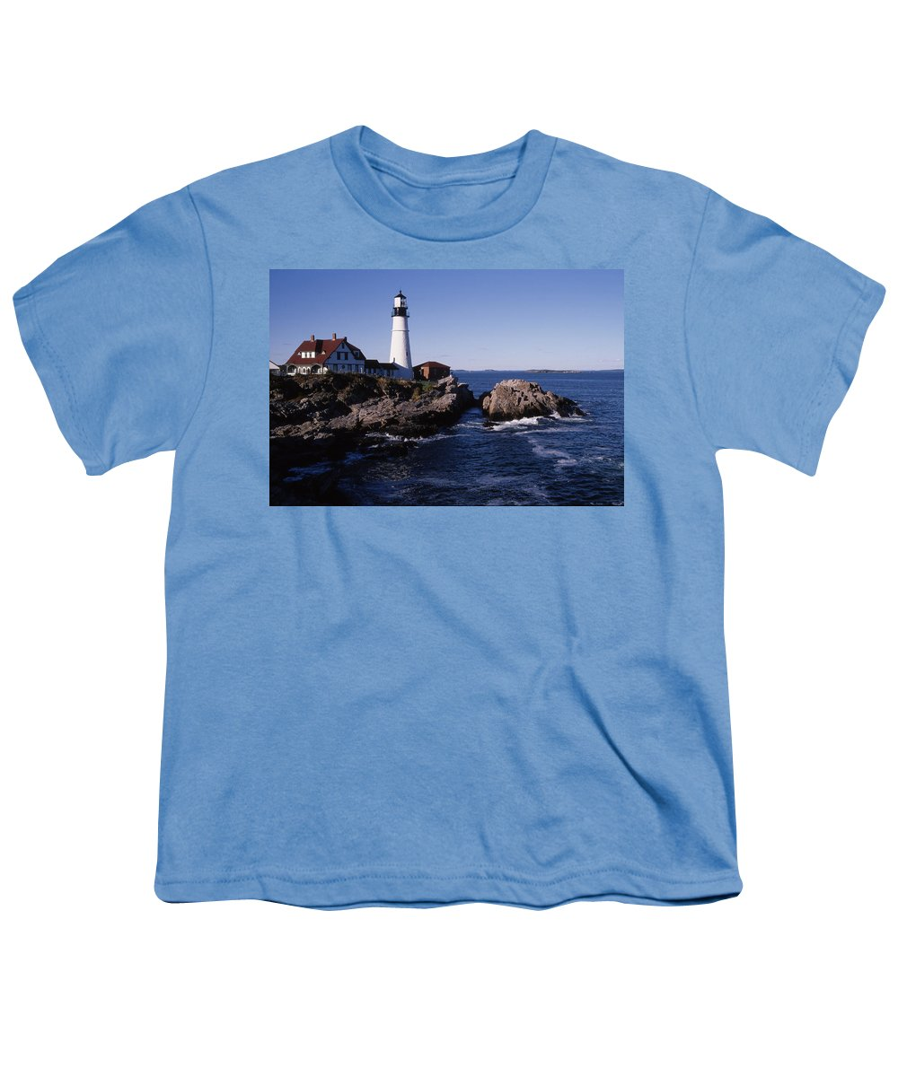 Landscape New England Lighthouse Nautical Coast Youth T-Shirt featuring the photograph Cnrf0910 by Henry Butz