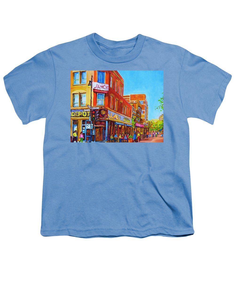 Cityscape Youth T-Shirt featuring the painting Coffee Depot Cafe And Terrace by Carole Spandau