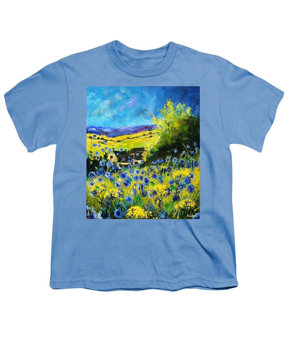 Flowers Youth T-Shirt featuring the painting Cornflowers In Ver by Pol Ledent