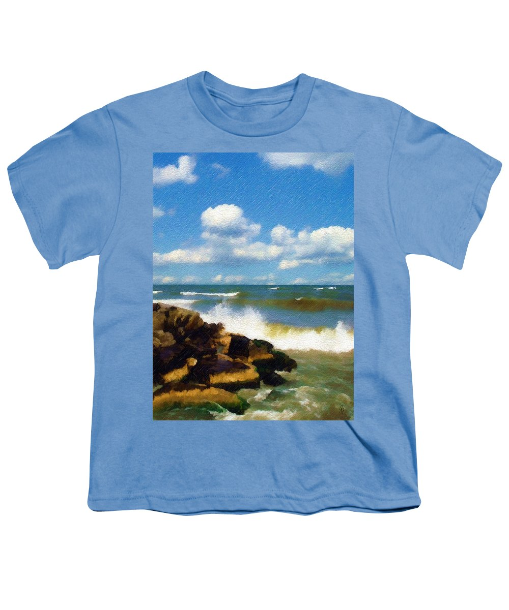 Seascape Youth T-Shirt featuring the photograph Crashing Into Shore by Sandy MacGowan