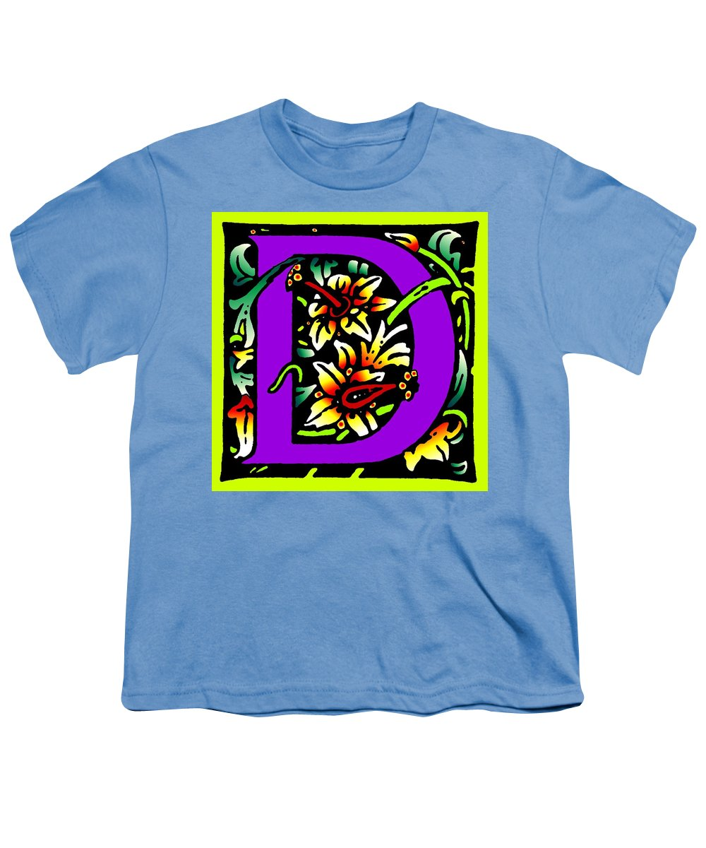 Alphabet Youth T-Shirt featuring the digital art D In Purple by Kathleen Sepulveda