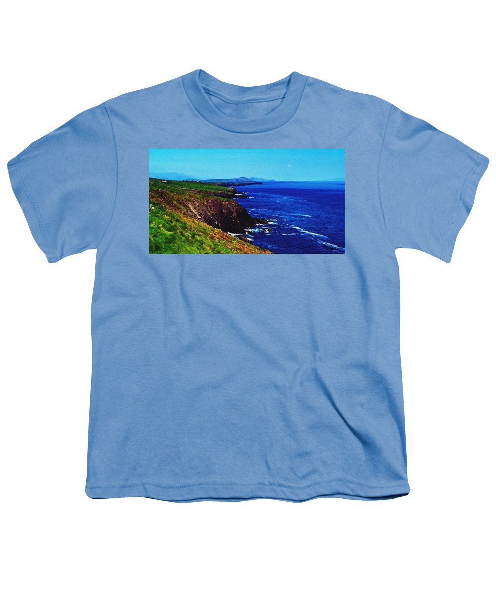 Irish Youth T-Shirt featuring the digital art Dingle Coastline Near Fahan Ireland by Teresa Mucha