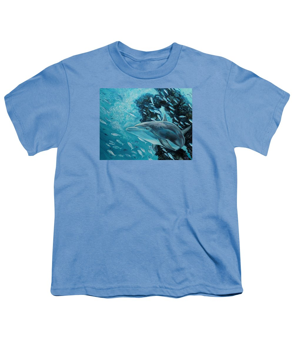 Underwater Scene Youth T-Shirt featuring the painting Dolphin With Small Fish by Diann Baggett