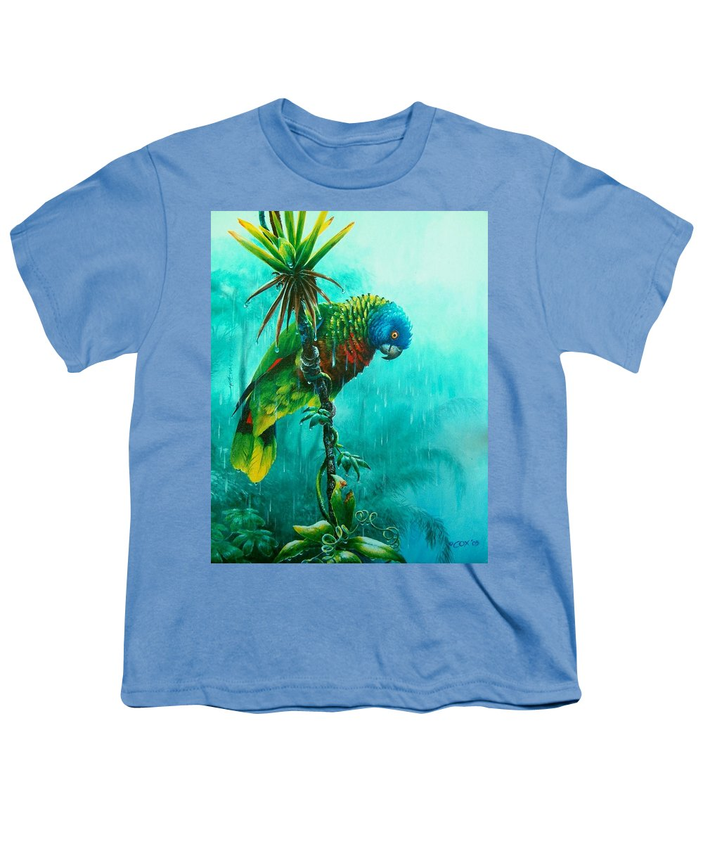 Chris Cox Youth T-Shirt featuring the painting Drenched - St. Lucia Parrot by Christopher Cox
