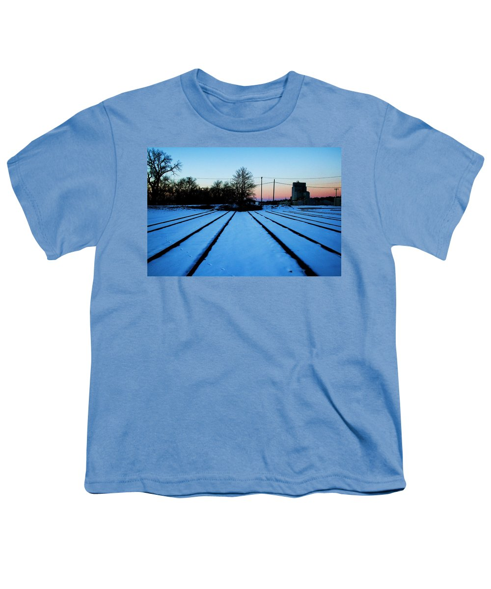 Sunset Youth T-Shirt featuring the photograph End Of The Tracks by Angus Hooper Iii