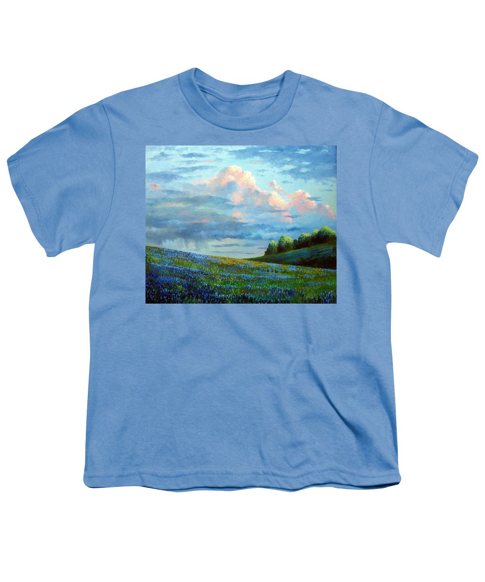 Landscape Youth T-Shirt featuring the painting Evening Rain by David G Paul