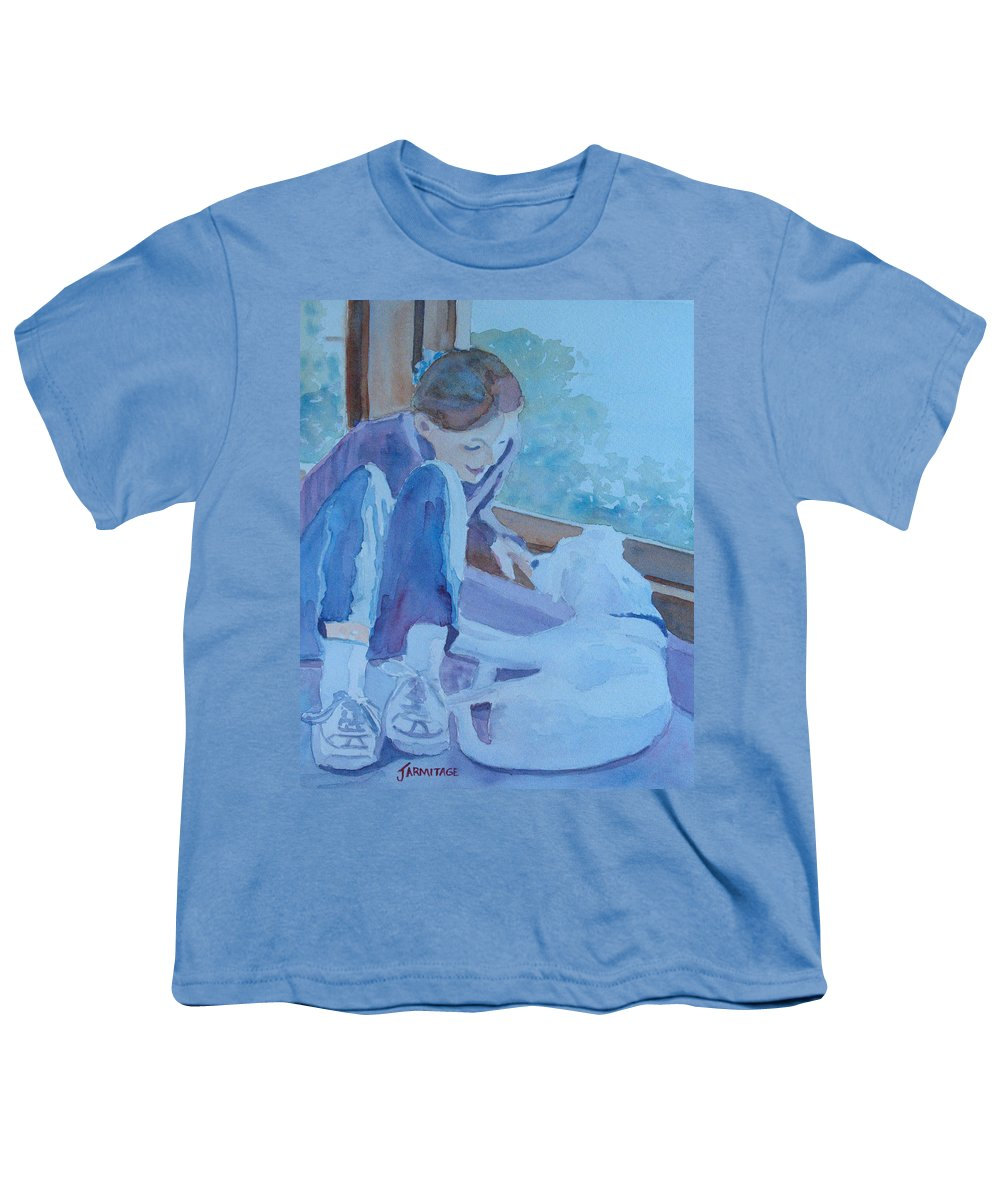 Girl Youth T-Shirt featuring the painting Good Morning Puppy by Jenny Armitage