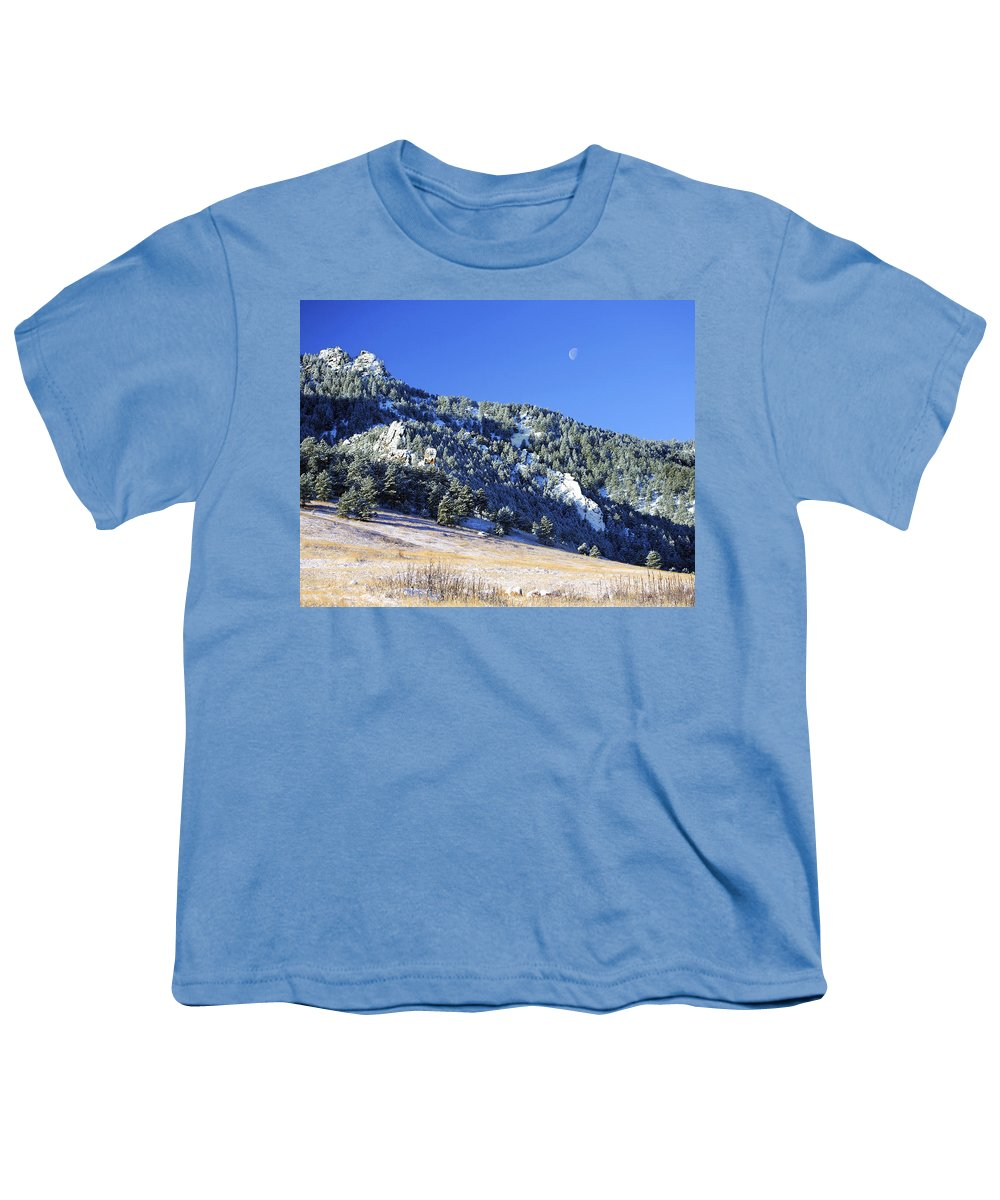 Nature Youth T-Shirt featuring the photograph Half Moon Over The Flatirons by Marilyn Hunt