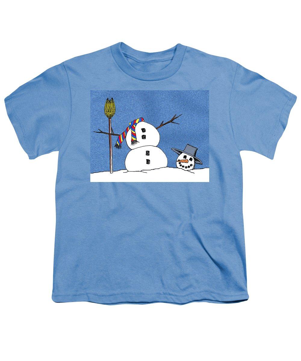 Snowman Youth T-Shirt featuring the digital art Headless Snowman by Nancy Mueller