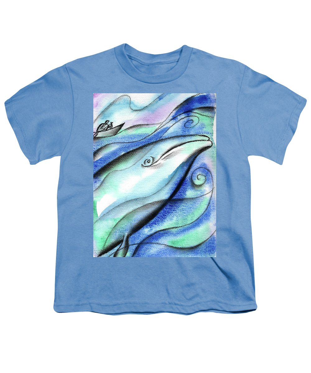 Animal Whale Fish Sea Youth T-Shirt featuring the painting In The Deep by Leon Zernitsky