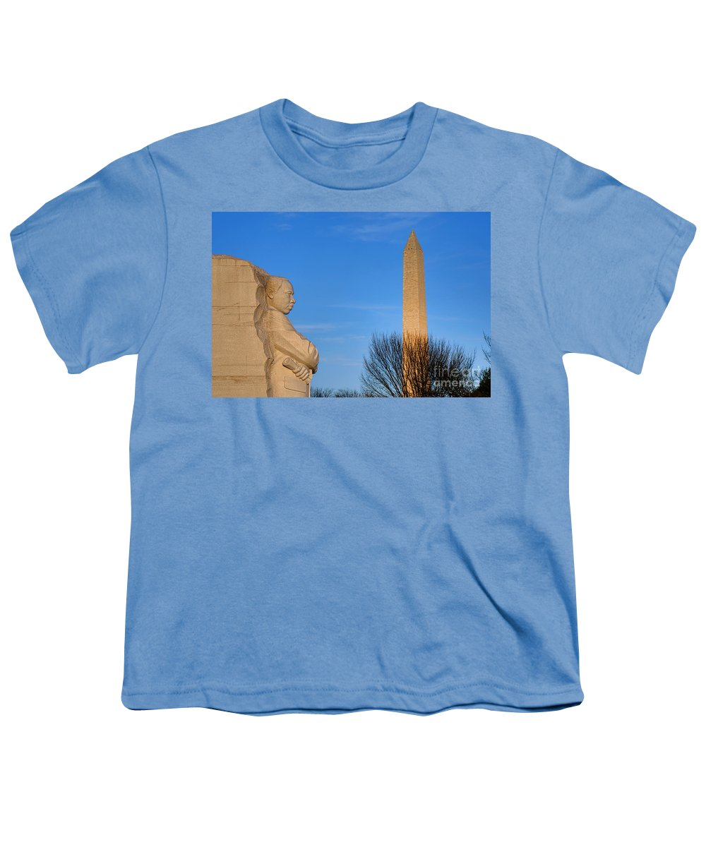 Washington Youth T-Shirt featuring the photograph Mlk And Washington Monuments by Olivier Le Queinec
