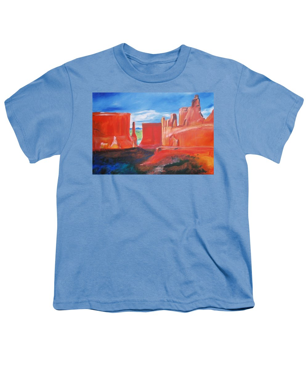 Floral Youth T-Shirt featuring the painting Monument Valley by Eric Schiabor