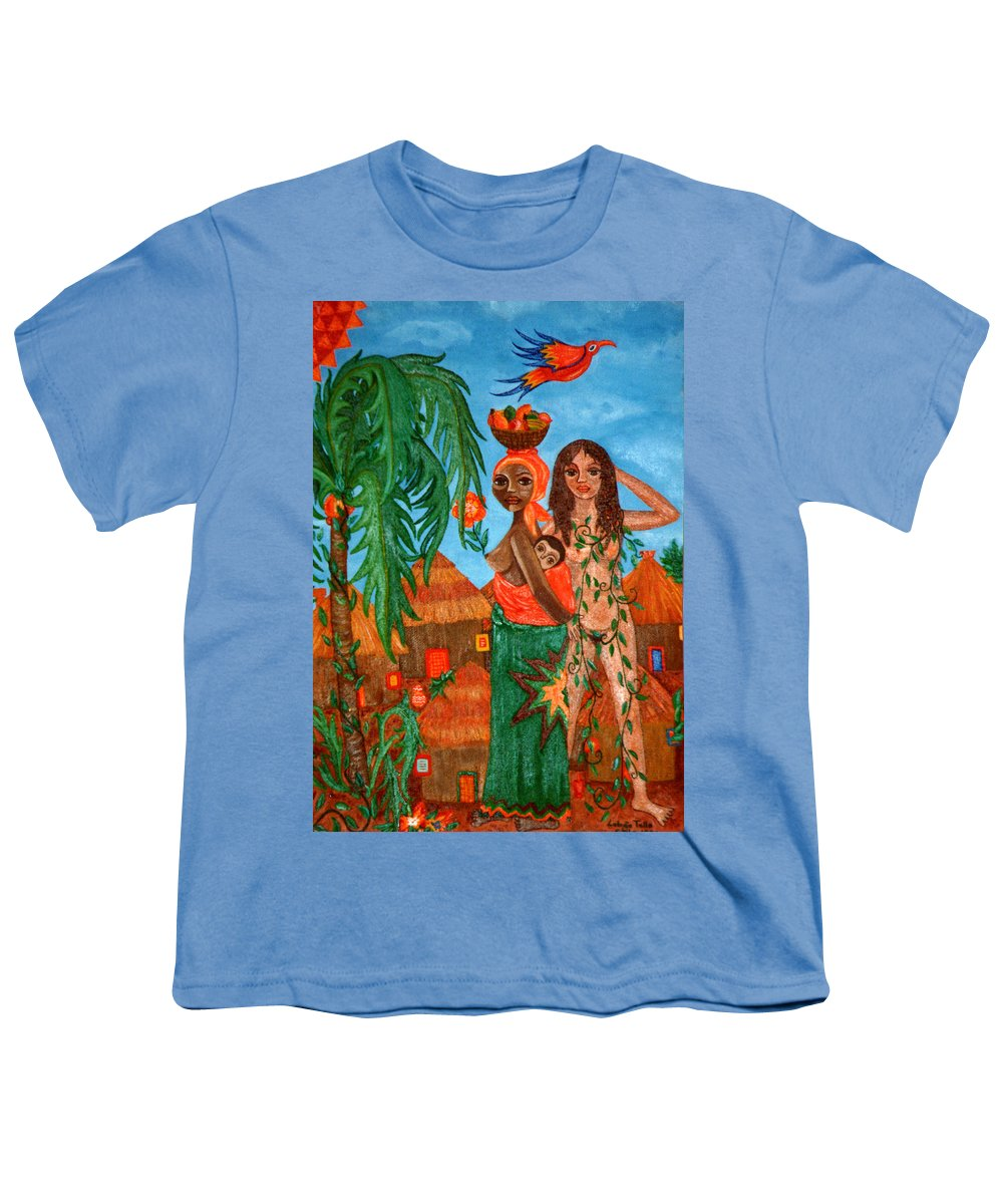 Mother Youth T-Shirt featuring the painting Mother Black Mother White by Madalena Lobao-Tello