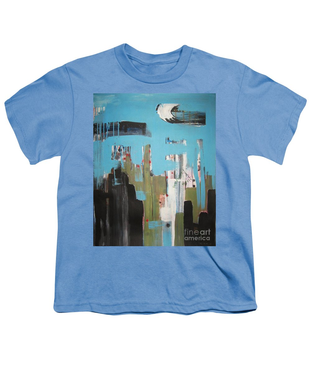 Abstract Paintings Youth T-Shirt featuring the painting Neglected Area by Seon-Jeong Kim
