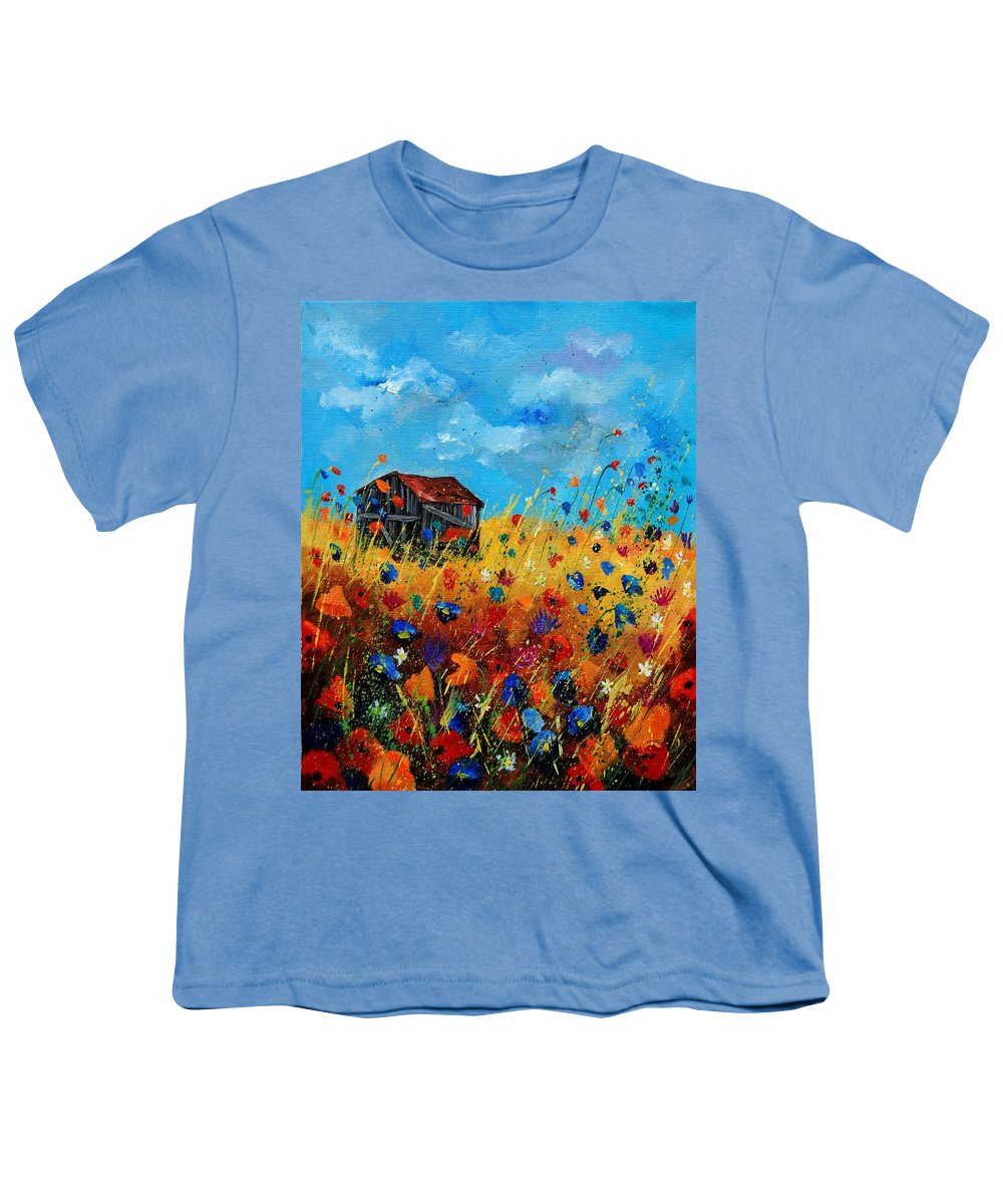 Poppies Youth T-Shirt featuring the painting Old Barn by Pol Ledent