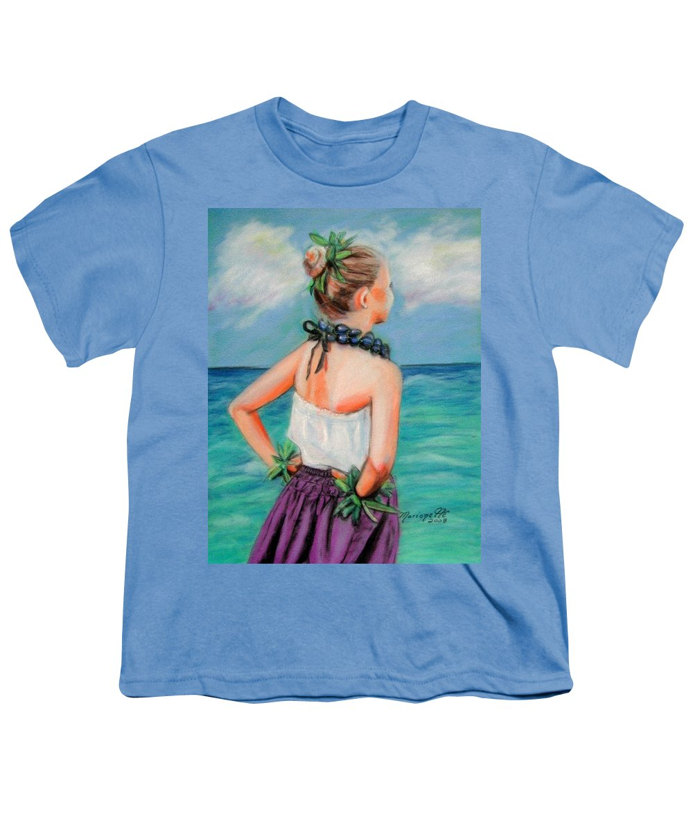 Hula Dance Youth T-Shirt featuring the painting Poipu Hula by Marionette Taboniar