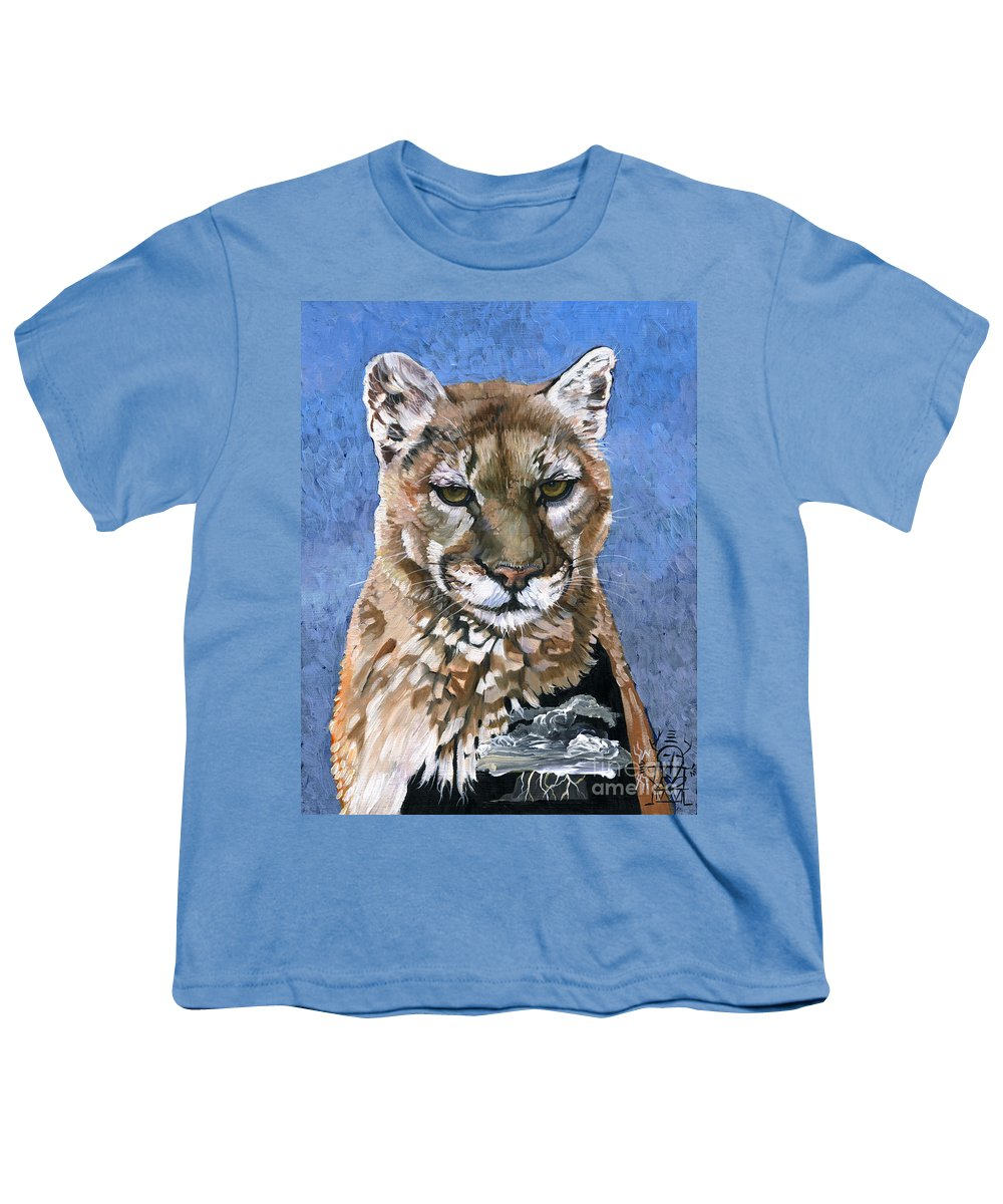 Puma Youth T-Shirt featuring the painting Puma - The Hunter by J W Baker