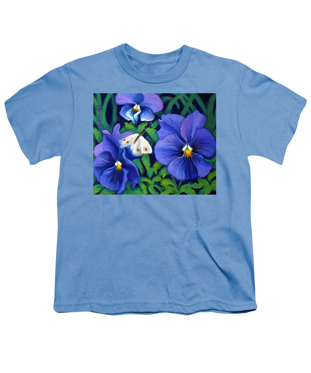 Pansy Youth T-Shirt featuring the painting Purple Pansies And White Moth by Minaz Jantz
