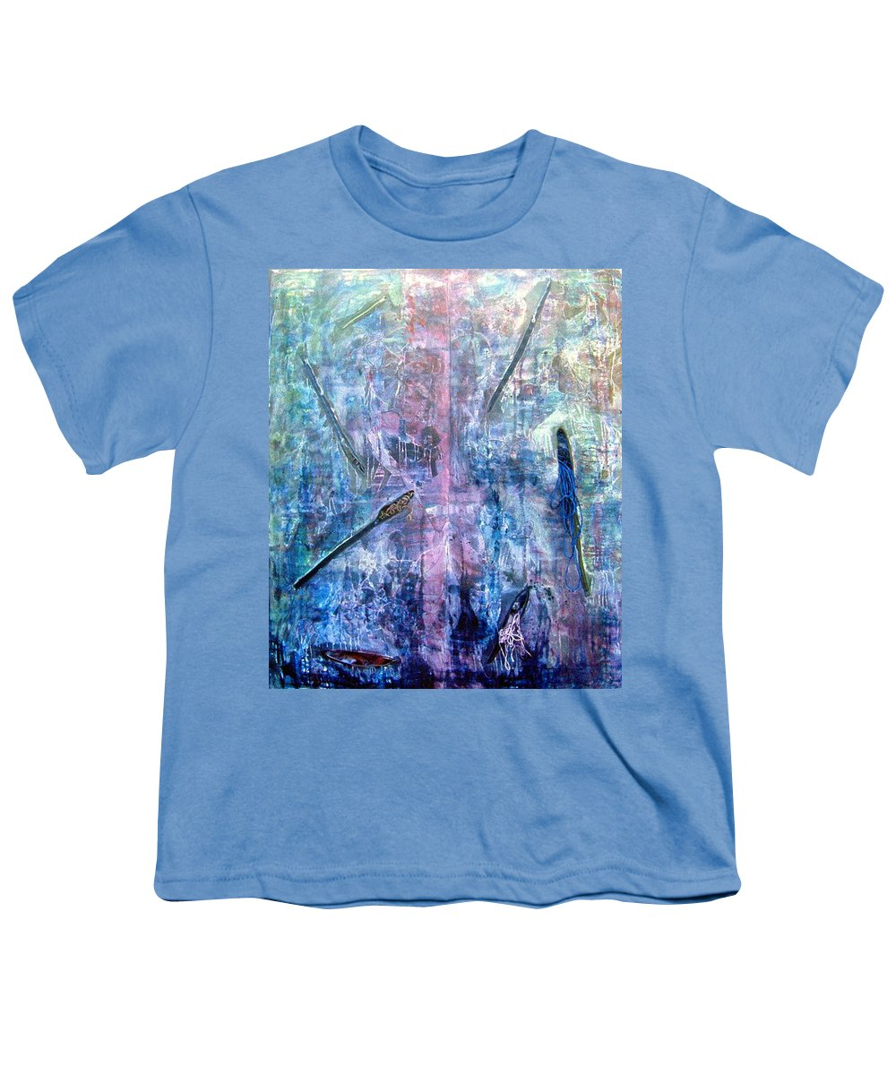 Abstract Youth T-Shirt featuring the painting Seven Zippers by Nancy Mueller