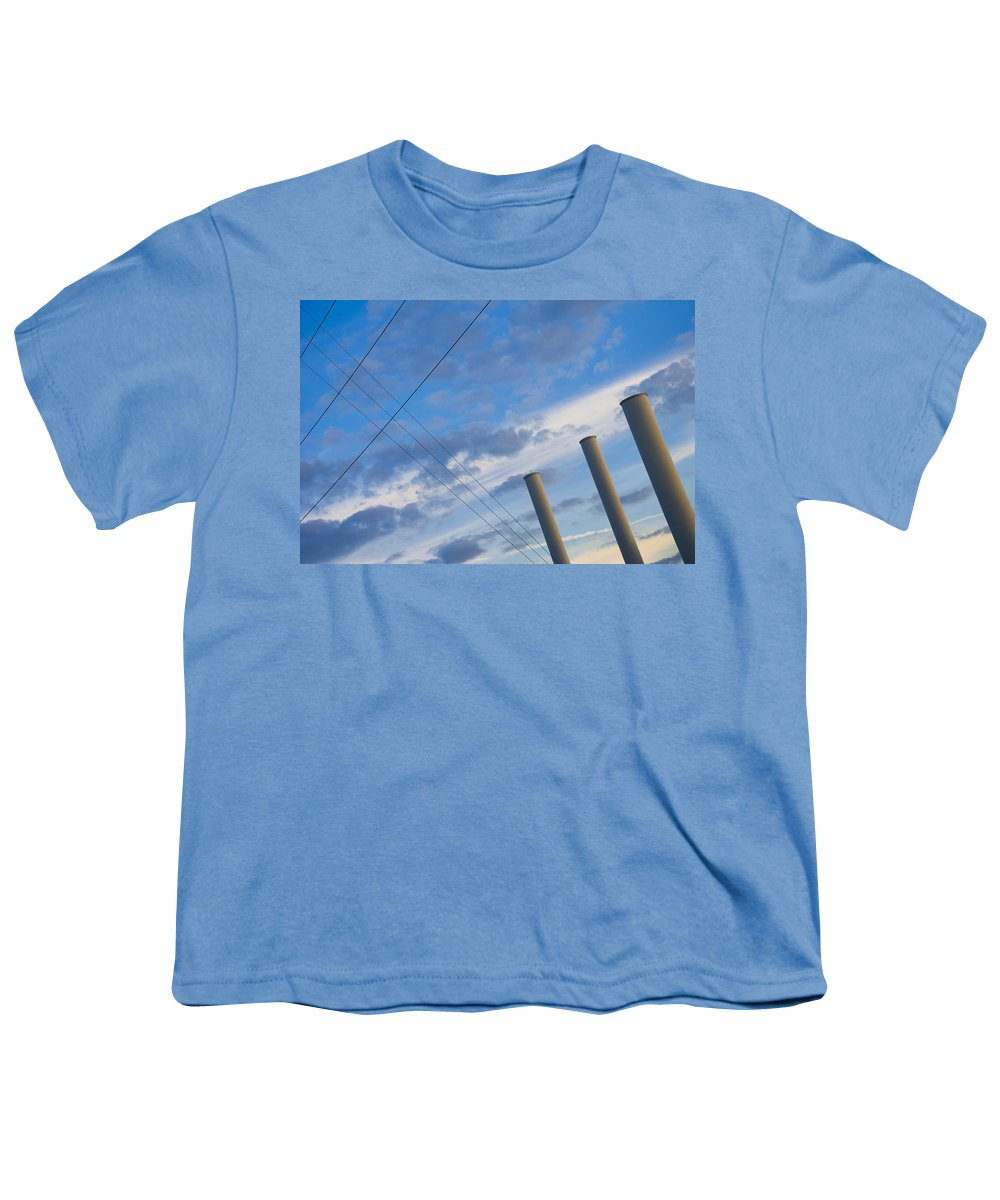 Blue Youth T-Shirt featuring the photograph Smoke Stax by Skip Hunt