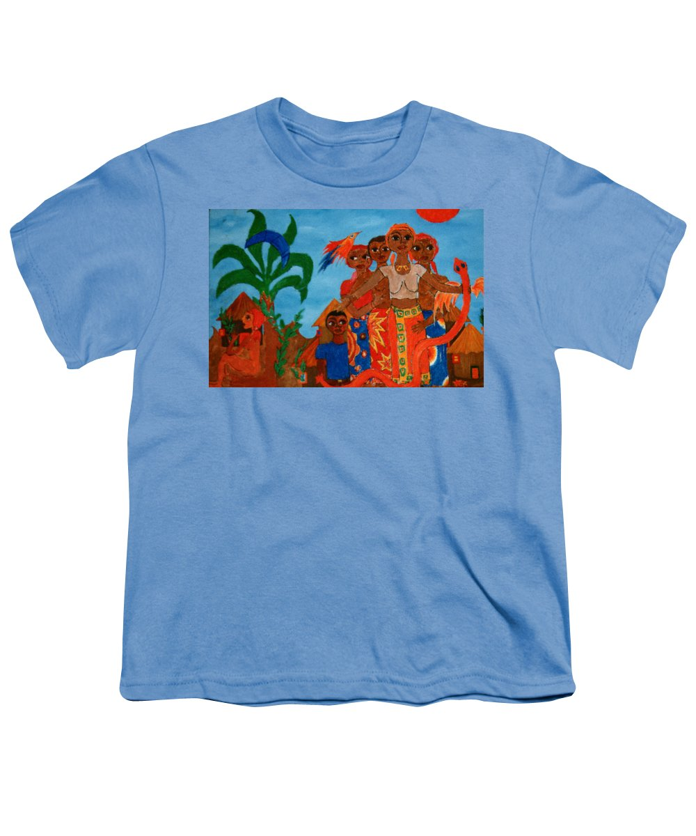 Study Youth T-Shirt featuring the painting Study To Motherland A Place Of Exile by Madalena Lobao-Tello