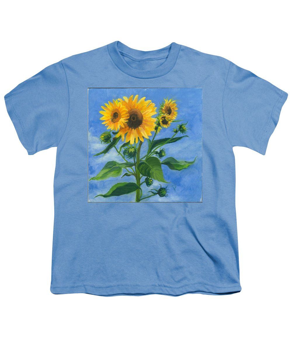 Flowers Youth T-Shirt featuring the painting Sunflowers On Bauer Farm by Paula Emery