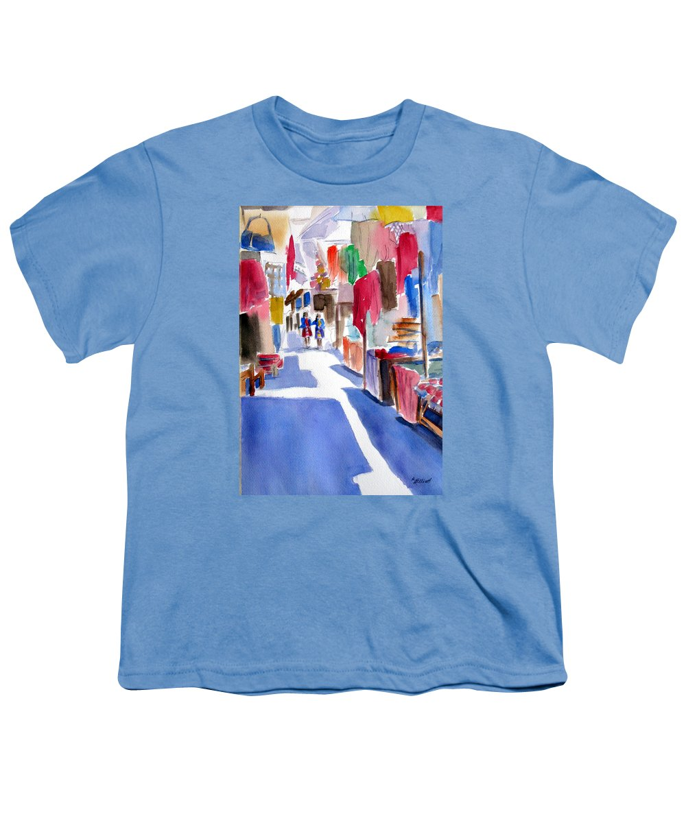 Market Youth T-Shirt featuring the painting Sunny Day At The Market by Marsha Elliott