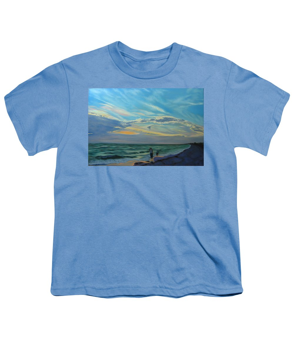 Seascape Youth T-Shirt featuring the painting Sunset Treasure Hunt by Lea Novak
