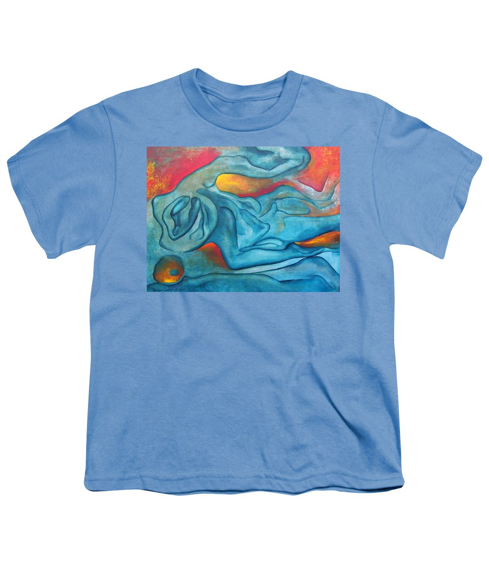 Abstract Blues Love Passion Sensual Earth Youth T-Shirt featuring the painting Tangled Up by Veronica Jackson