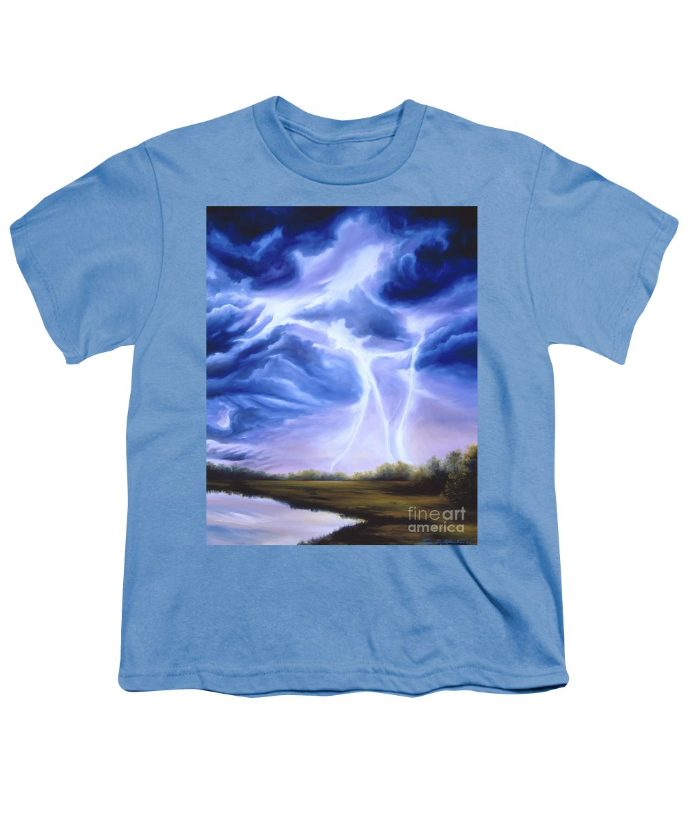 Marsh Youth T-Shirt featuring the painting Tesla by James Christopher Hill