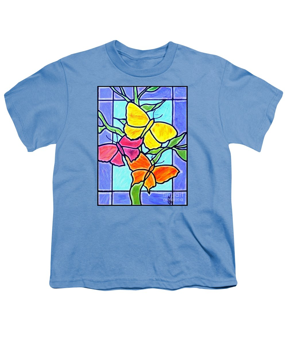 Butterflies Youth T-Shirt featuring the painting Three Butterflies by Jim Harris