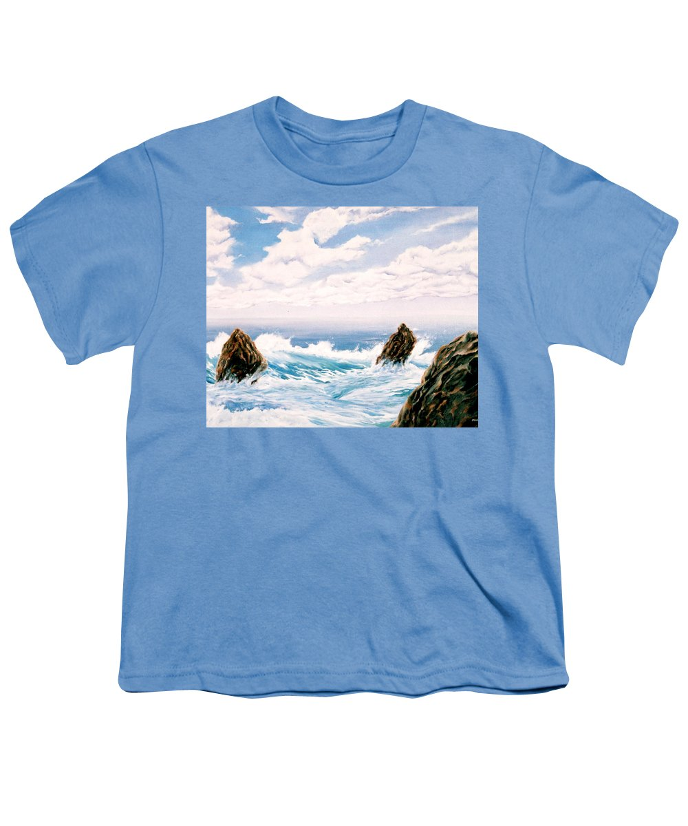 Seascape Youth T-Shirt featuring the painting Three Rocks by Mark Cawood
