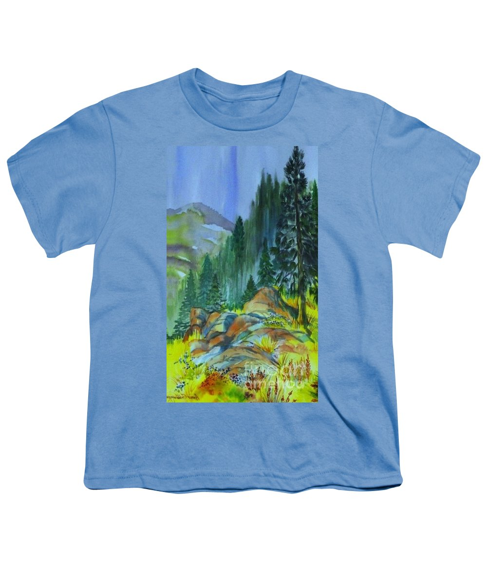 Watercolor Of Forest In Mountains Youth T-Shirt featuring the painting Watercolor of Mountain Forest by Annie Gibbons