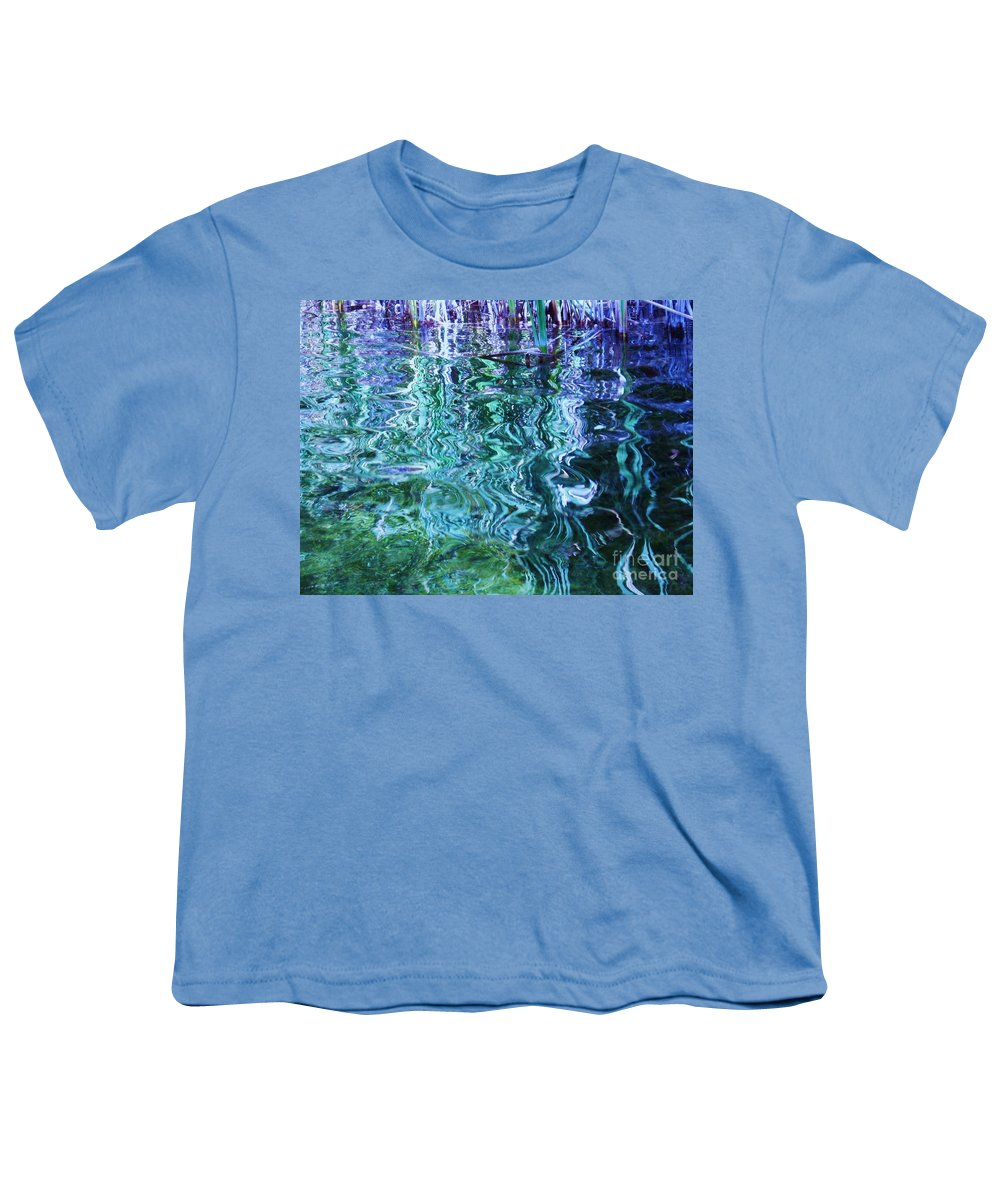 Photograph Blue Green Weed Shadow Lake Water Youth T-Shirt featuring the photograph Weed Shadows by Seon-Jeong Kim
