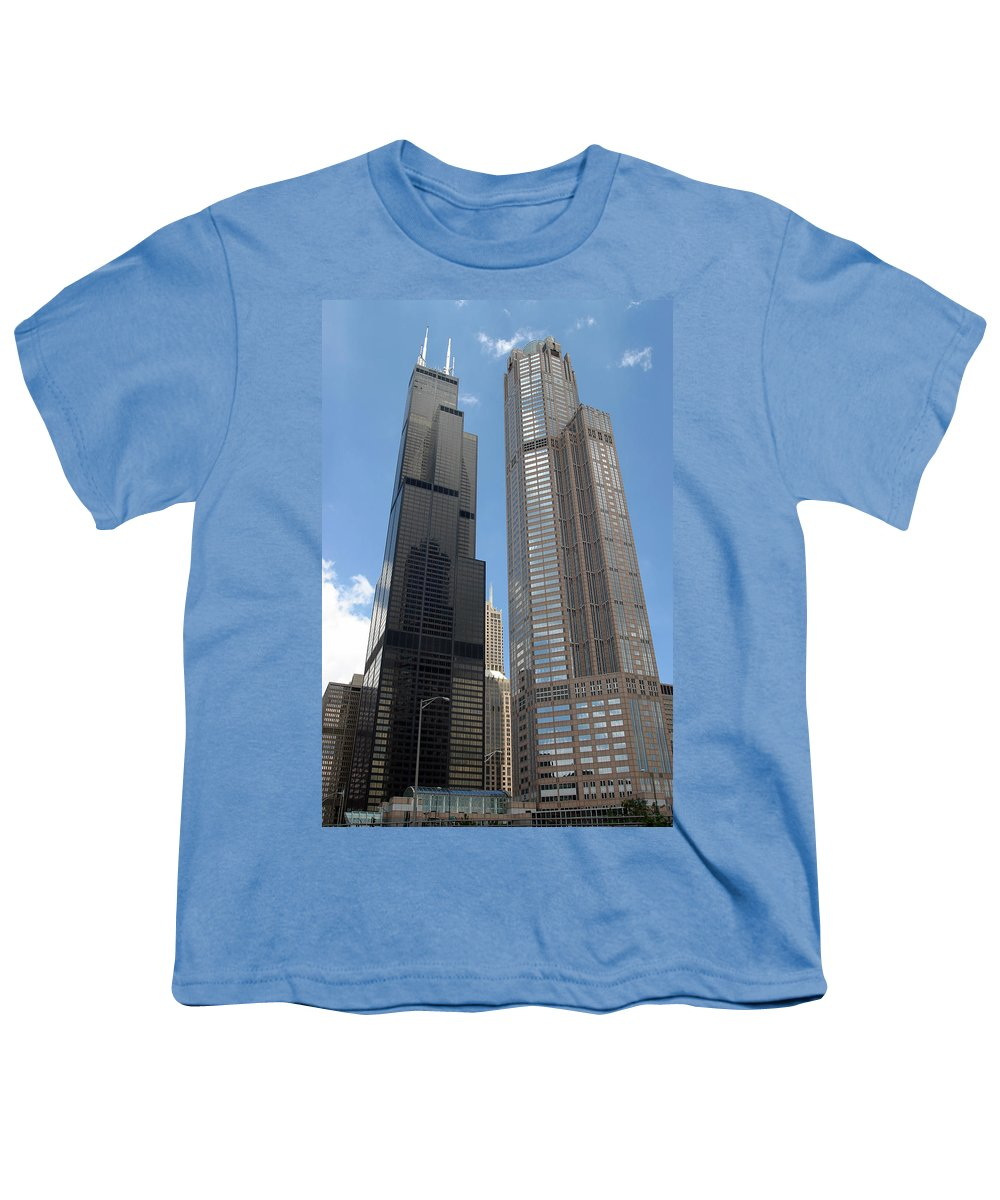 3scape Youth T-Shirt featuring the photograph Willis Tower Aka Sears Tower And 311 South Wacker Drive by Adam Romanowicz