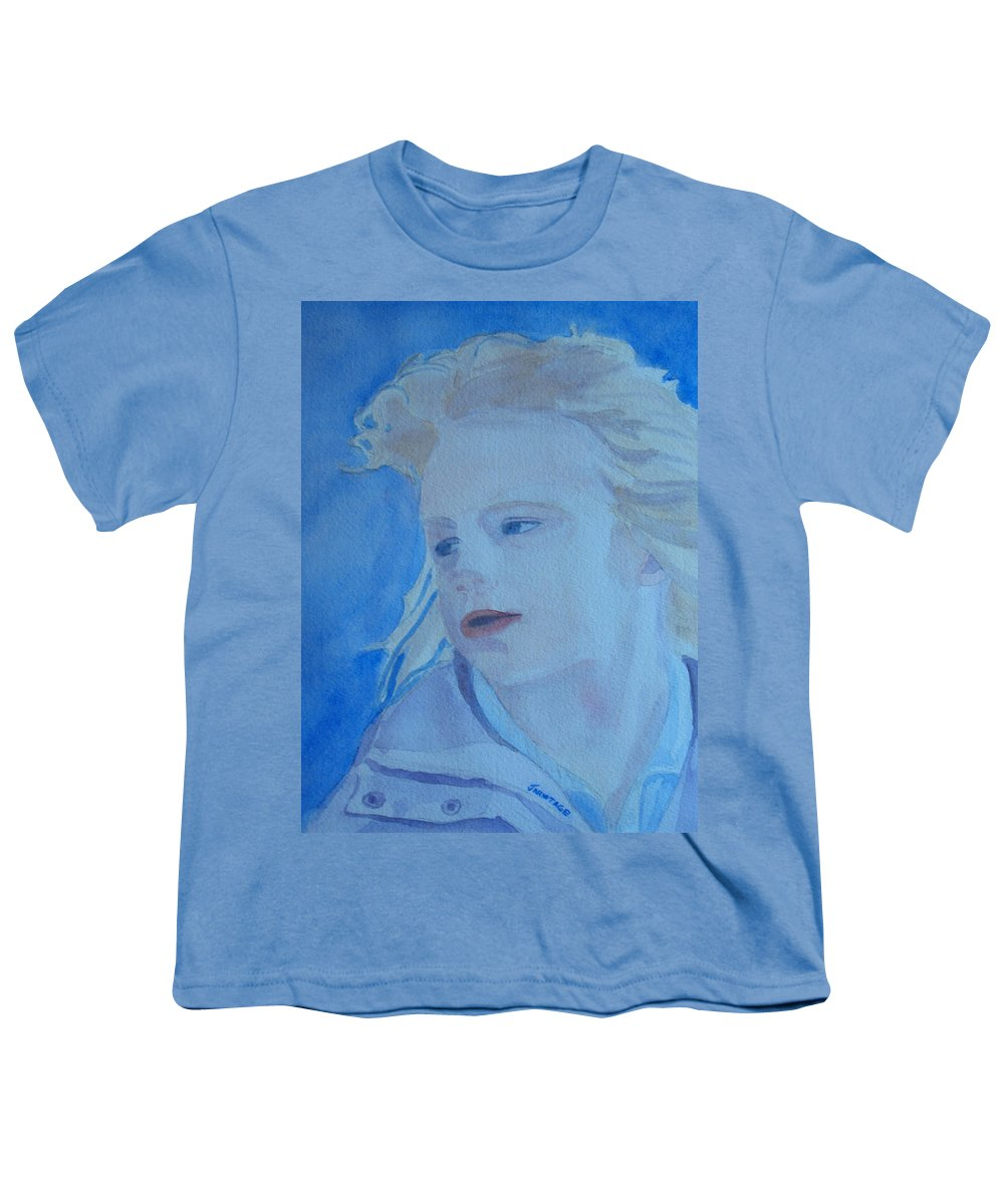 Portrait Portraits Youth T-Shirt featuring the painting Windswept by Jenny Armitage