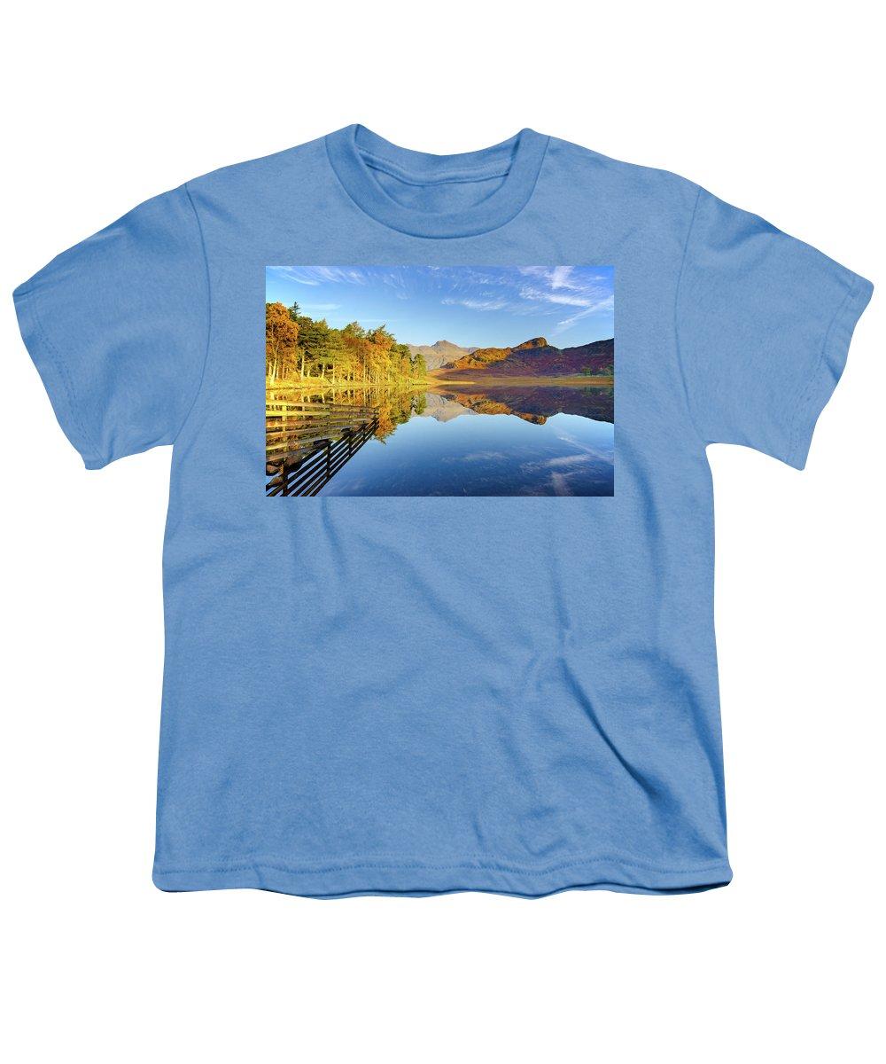 Blea Tarn Youth T-Shirt featuring the mixed media Blea Tarn by Smart Aviation