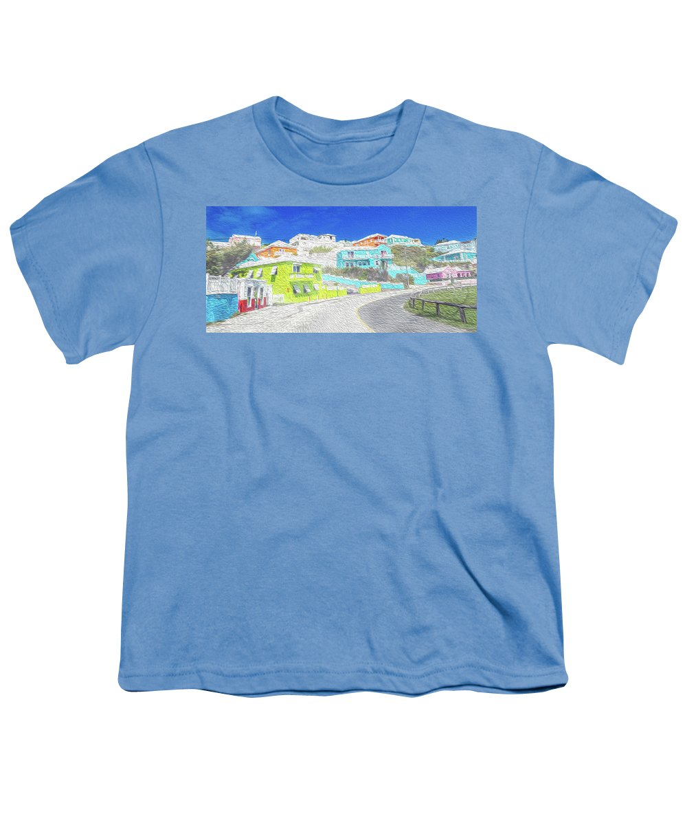 Bermuda Youth T-Shirt featuring the digital art Bright Parish Life Bermuda by Betsy Knapp