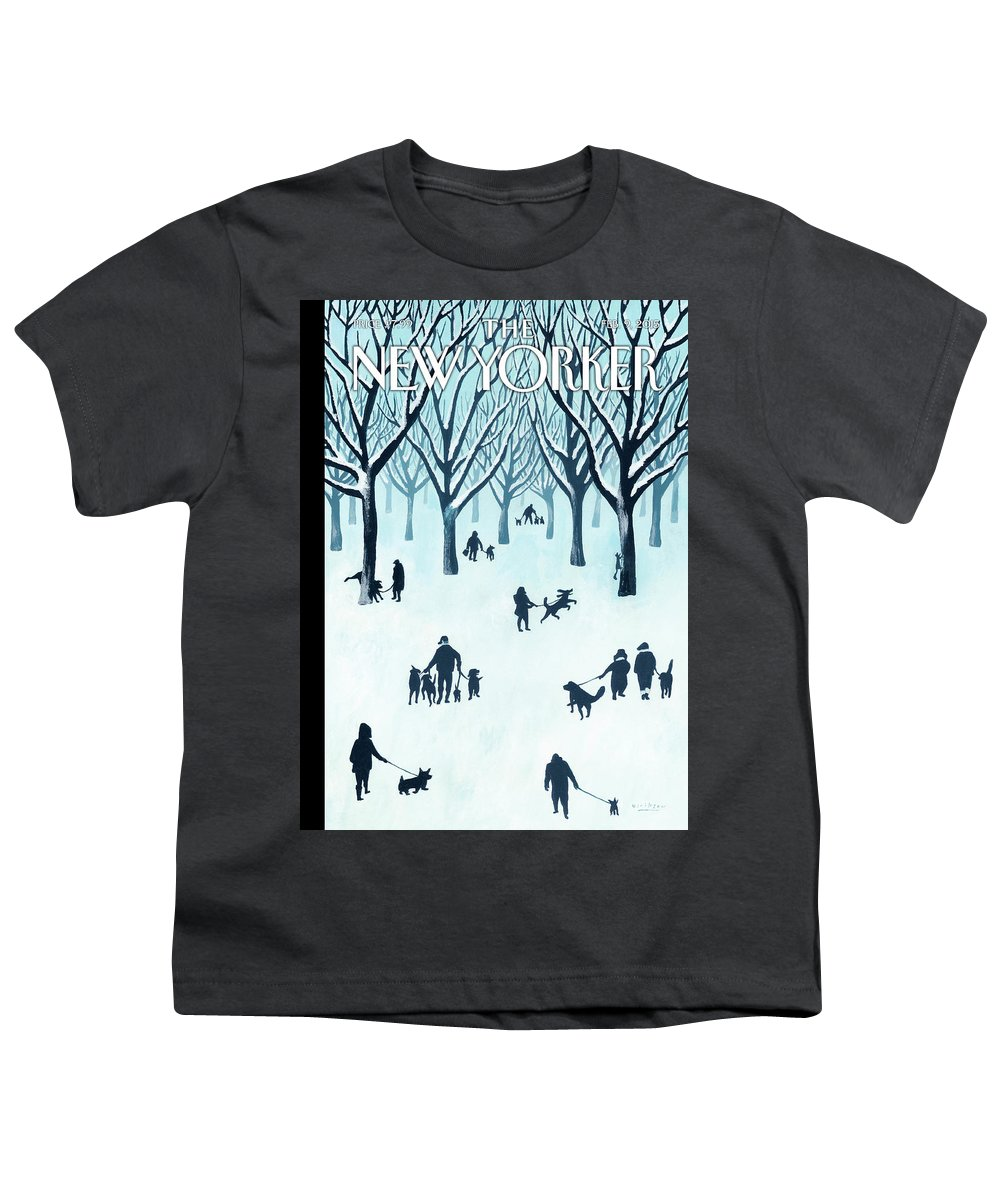 Snow Youth T-Shirt featuring the painting A Walk In The Snow by Mark Ulriksen