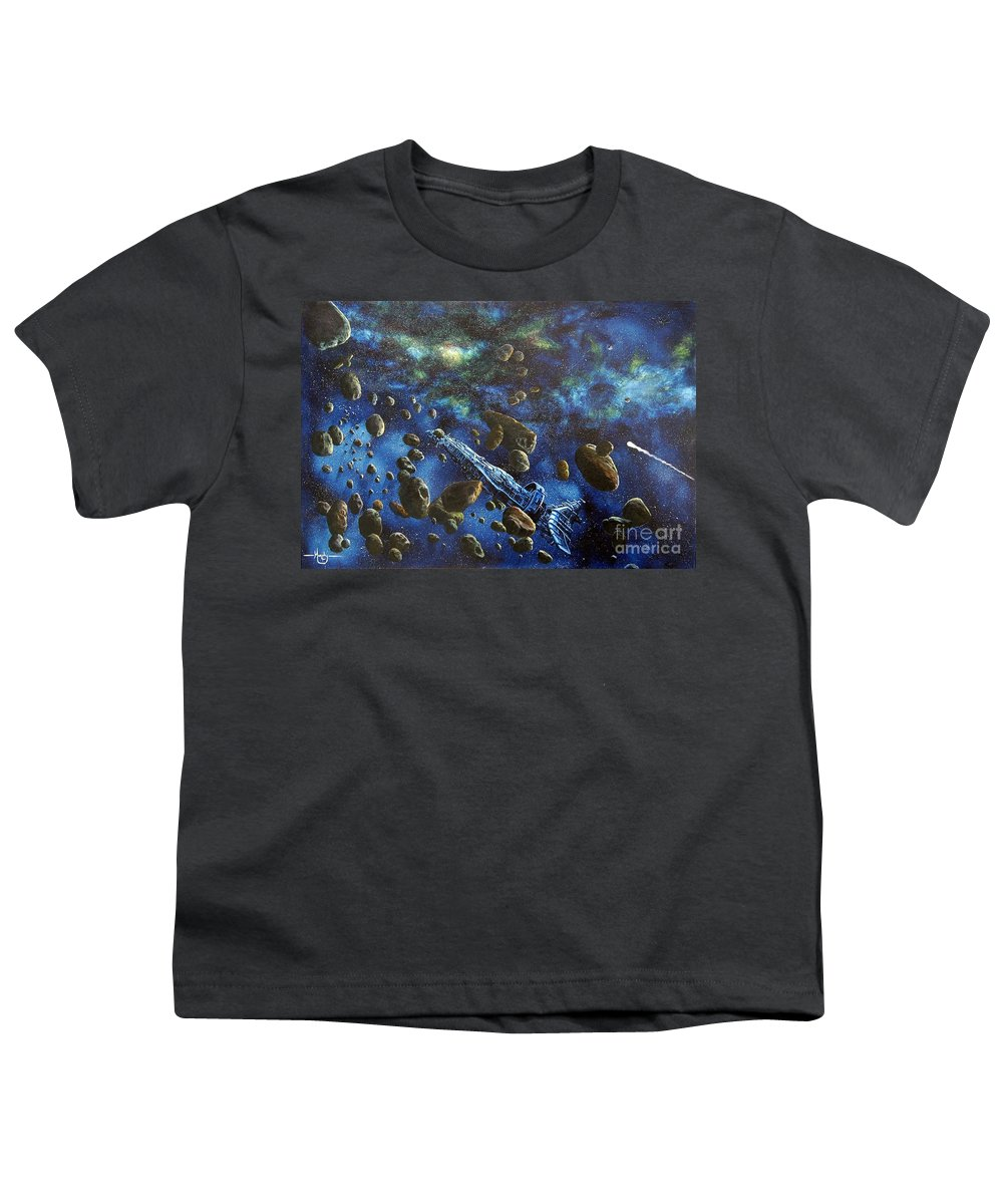 Canvas Youth T-Shirt featuring the painting Accidental Asteroid by Murphy Elliott