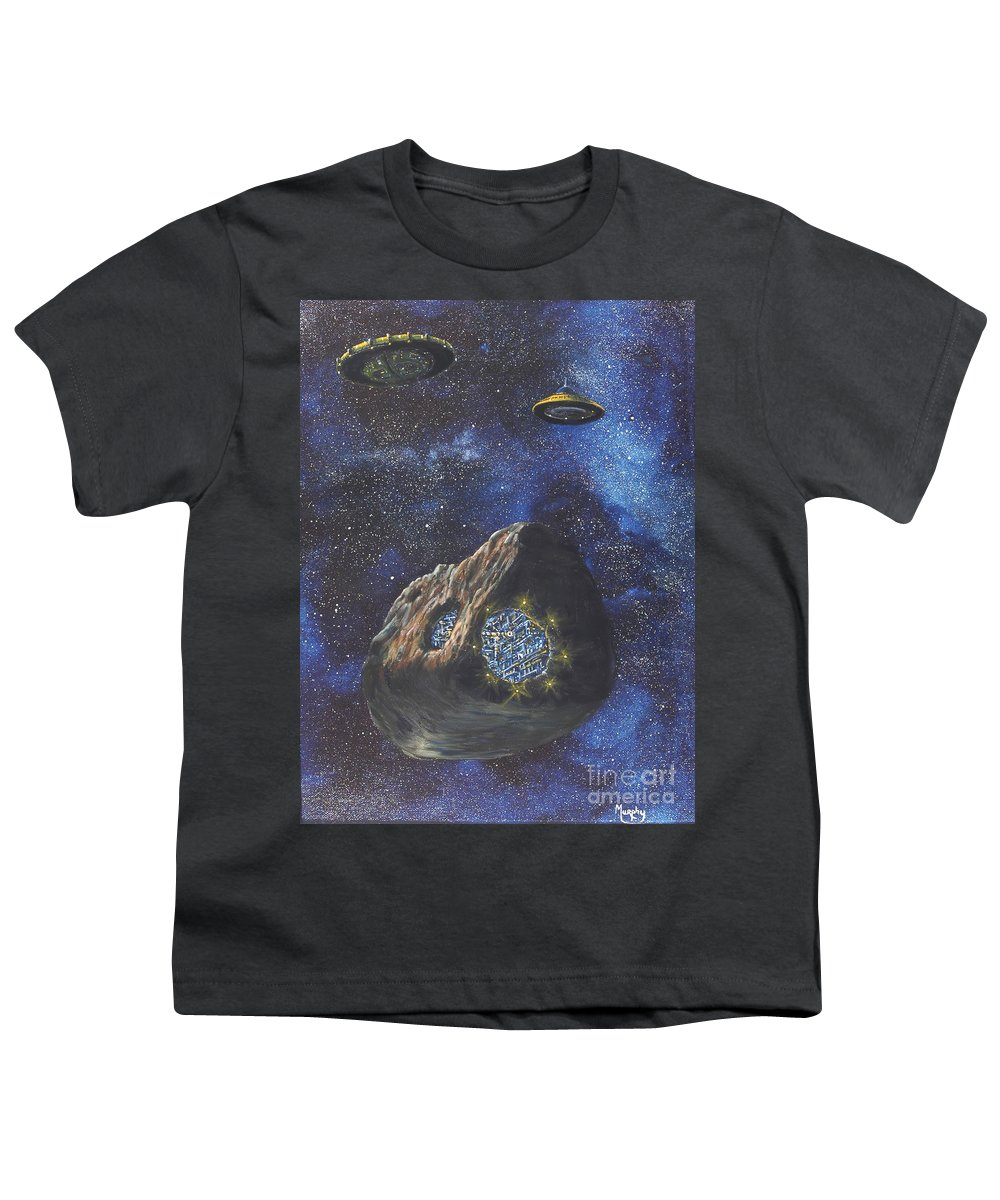 Painting Youth T-Shirt featuring the painting Alien Space Factory by Murphy Elliott
