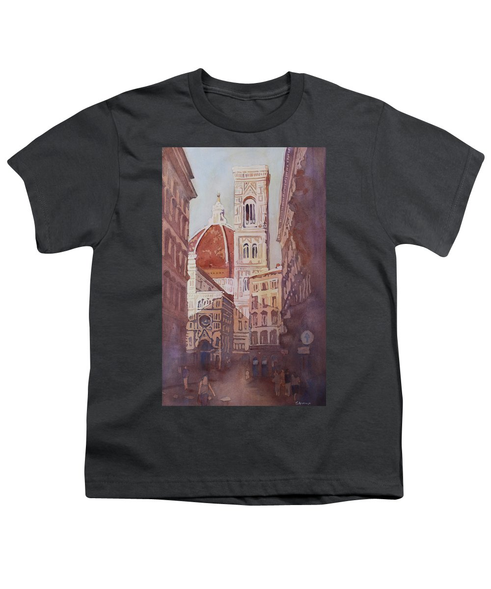 Duomo Campainula Youth T-Shirt featuring the painting And Suddenly The Duomo by Jenny Armitage