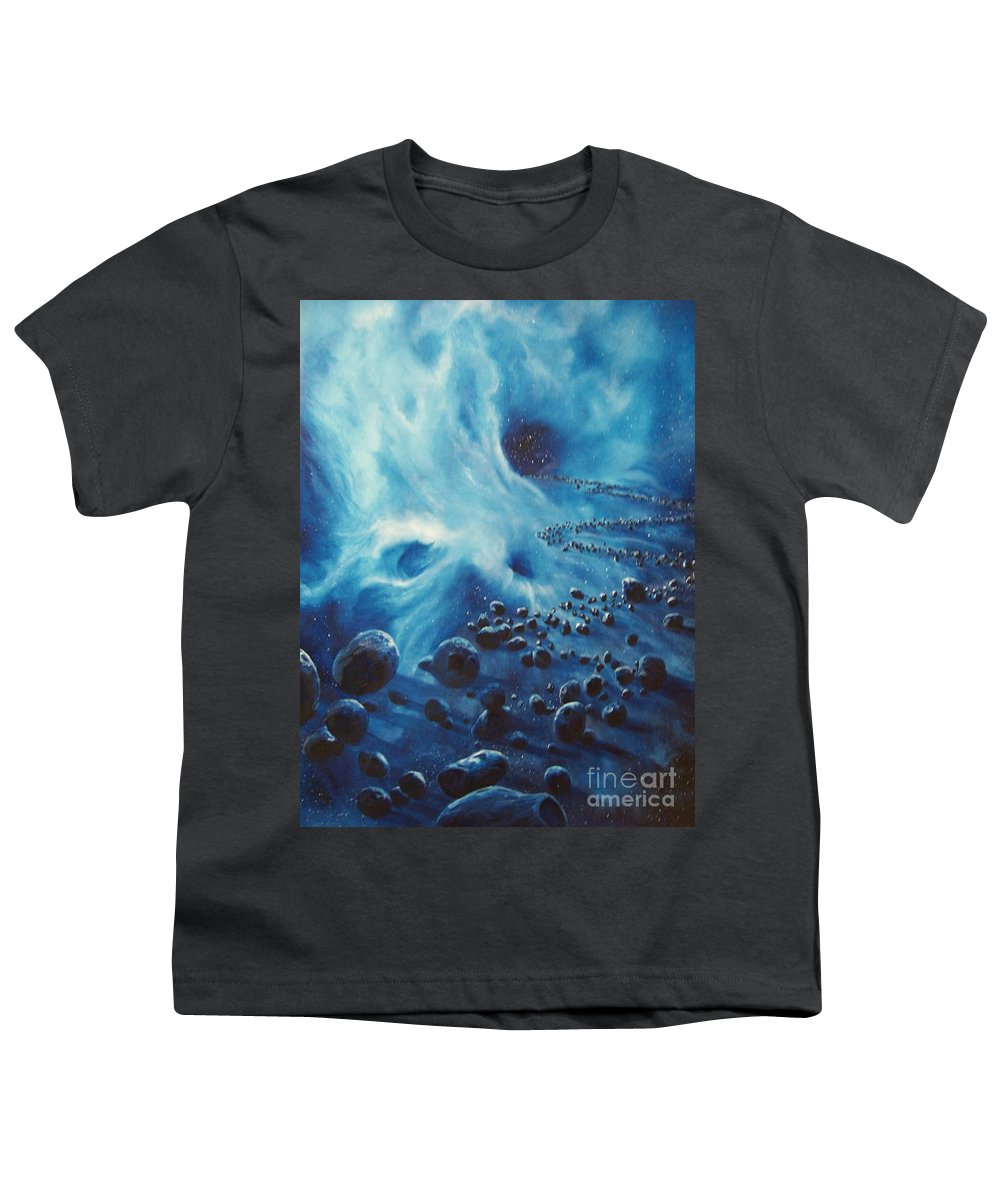 Si-fi Youth T-Shirt featuring the painting Asteroid River by Murphy Elliott