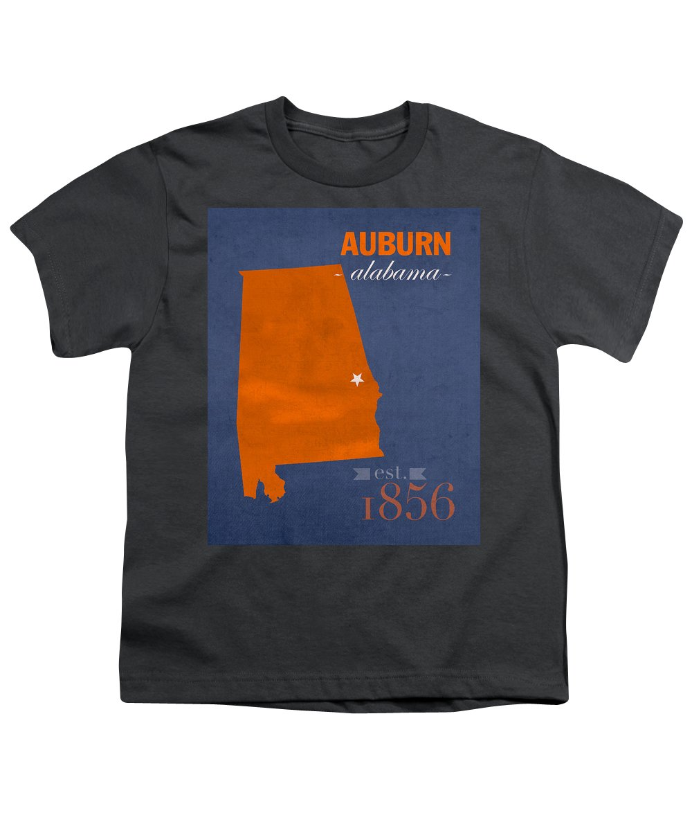 Auburn University Youth T-Shirt featuring the mixed media Auburn University Tigers Auburn Alabama College Town State Map Poster Series No 016 by Design Turnpike