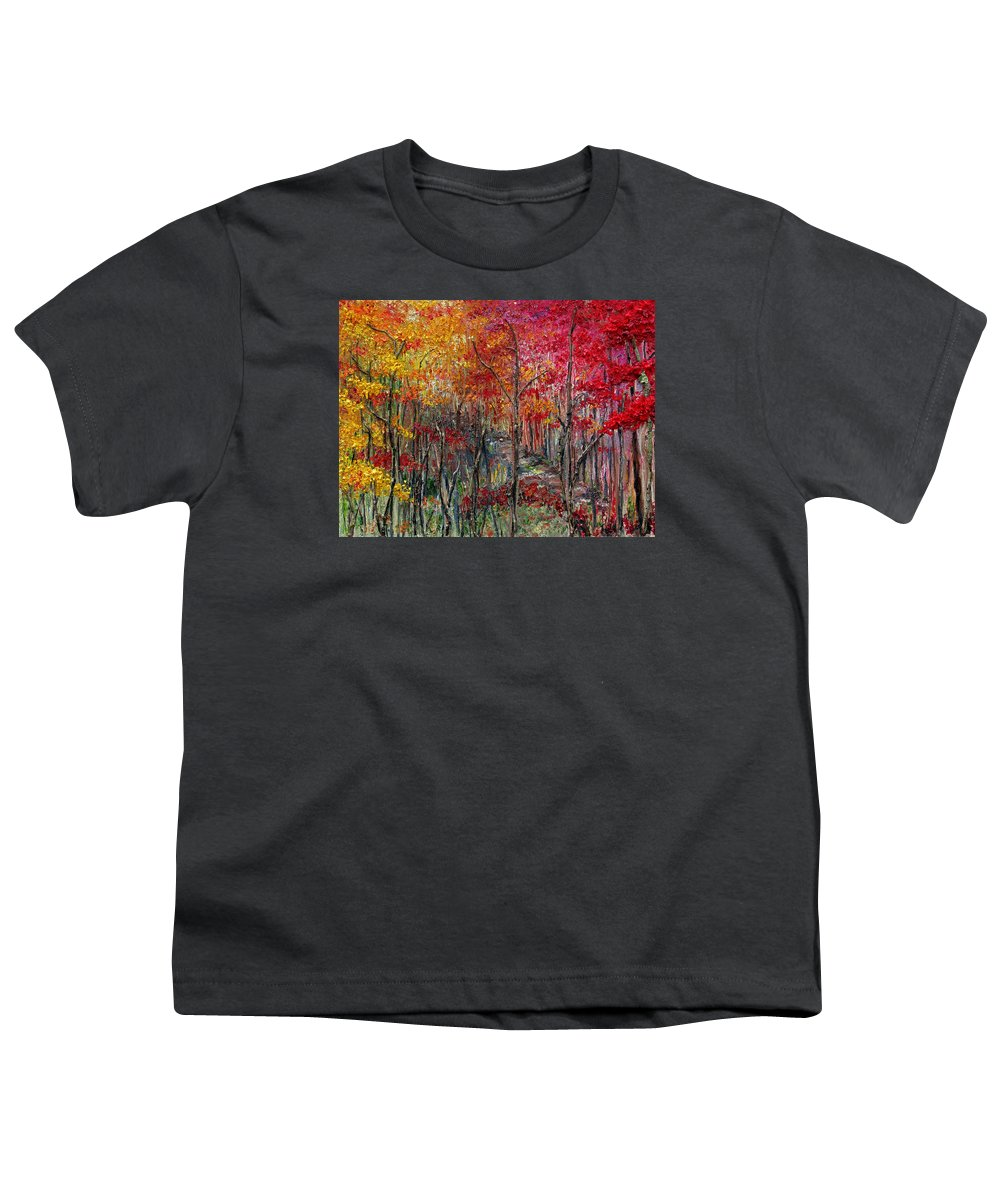 Autumn Youth T-Shirt featuring the painting Autumn In The Woods by Karin Dawn Kelshall- Best