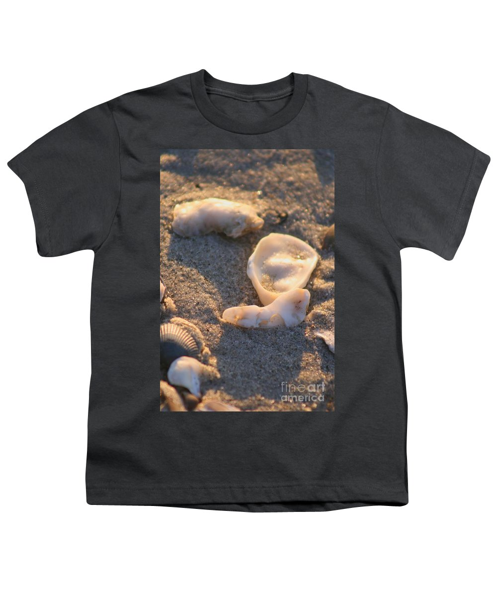 Shells Youth T-Shirt featuring the photograph Bald Head Island Shells by Nadine Rippelmeyer