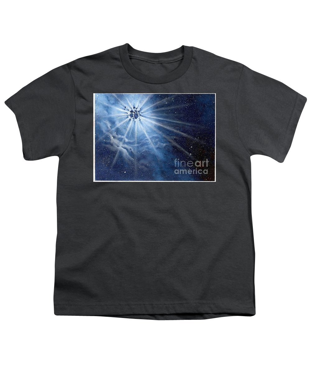 Outerspace Youth T-Shirt featuring the painting Burst Of Light by Murphy Elliott