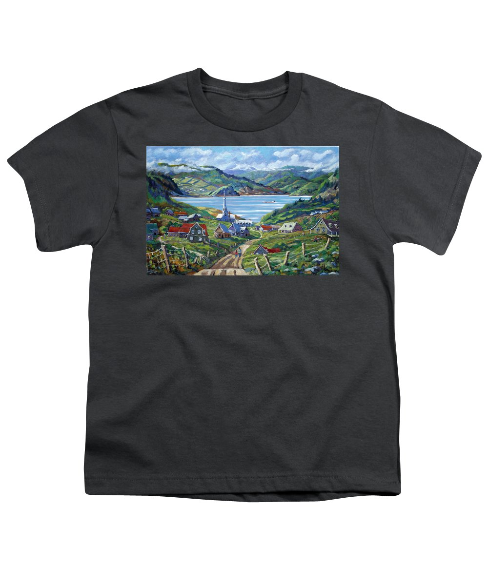 Youth T-Shirt featuring the painting Charlevoix Scene by Richard T Pranke